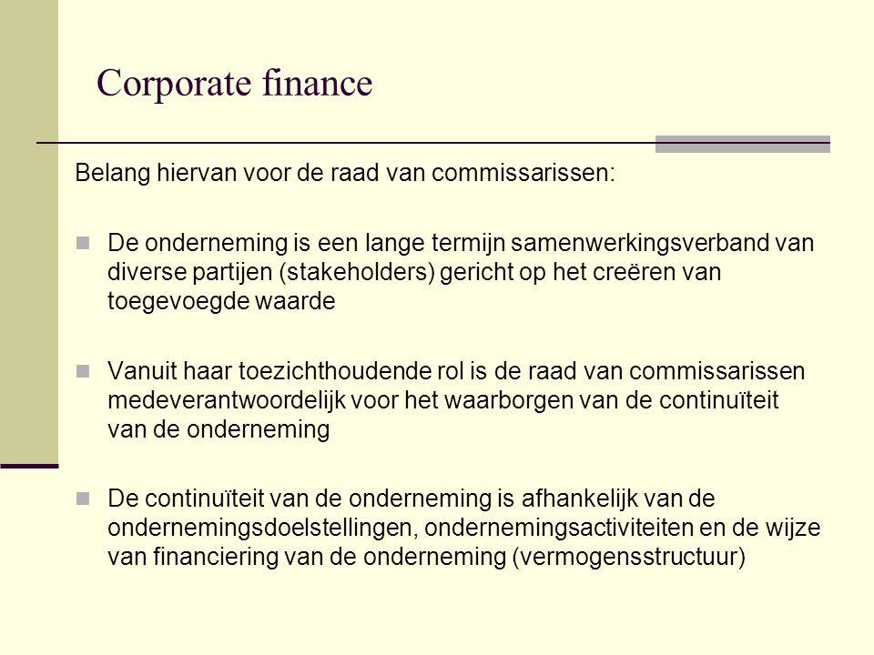 Corporate finance Belang hiervan voor de raad van commissarissen: