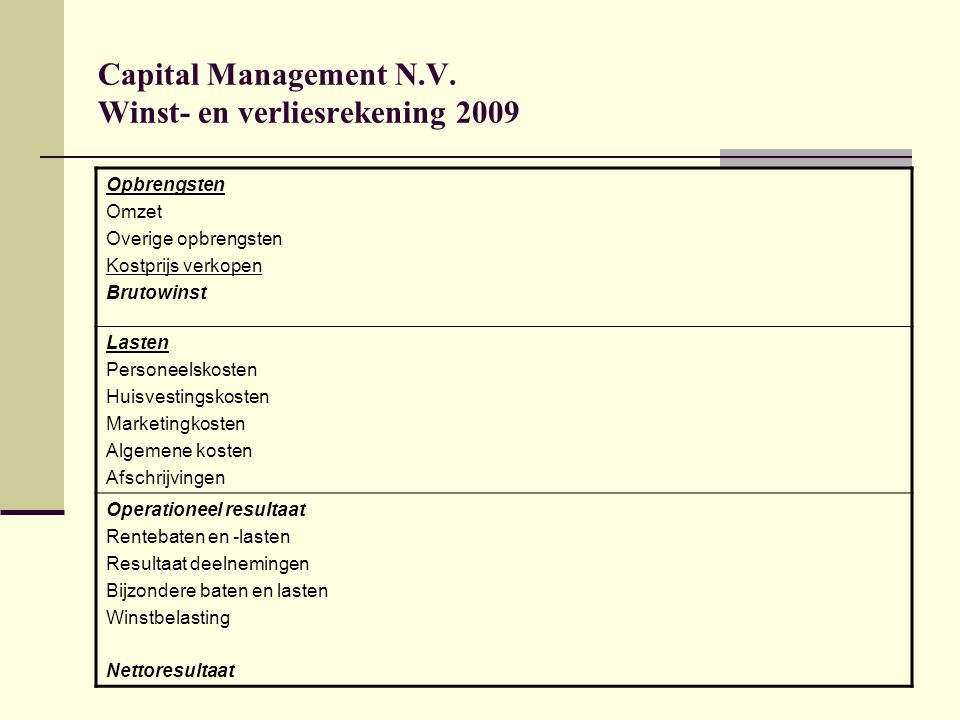 Capital Management N.V. Winst- en verliesrekening 2009