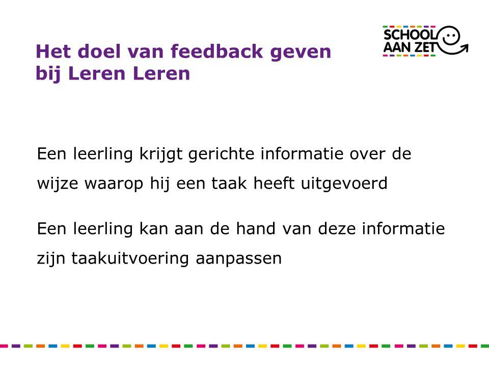 Het doel van feedback geven bij Leren Leren