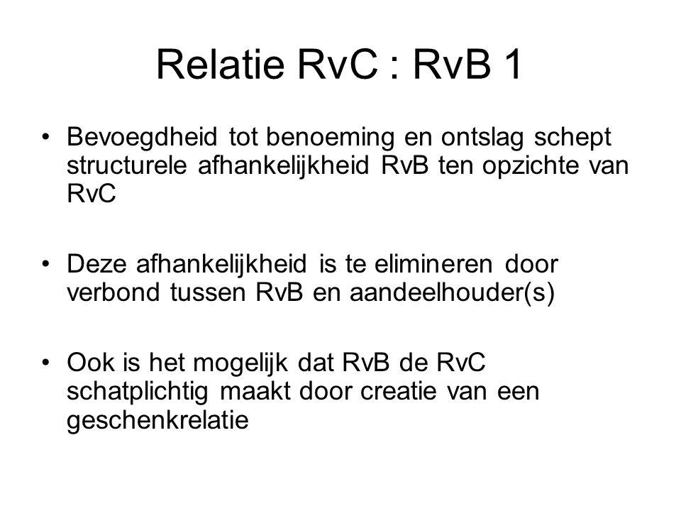 Relatie RvC : RvB 1 Bevoegdheid tot benoeming en ontslag schept structurele afhankelijkheid RvB ten opzichte van RvC.