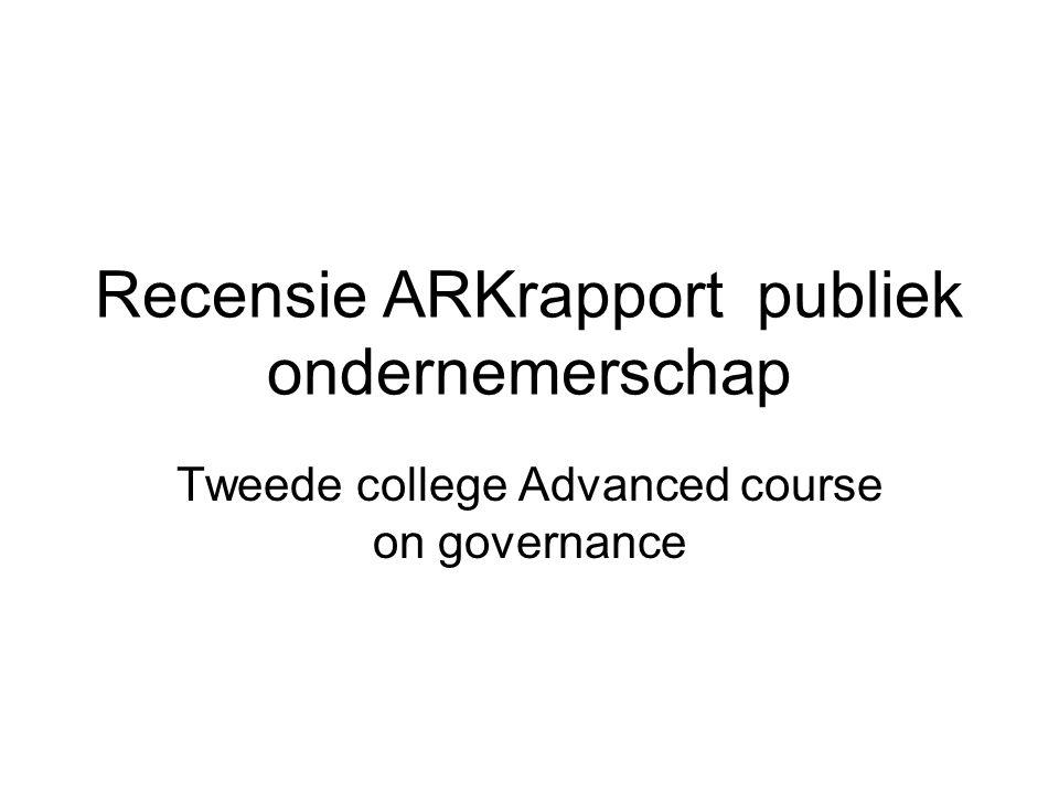 Recensie ARKrapport publiek ondernemerschap