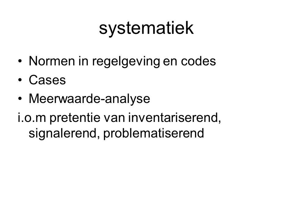 systematiek Normen in regelgeving en codes Cases Meerwaarde-analyse