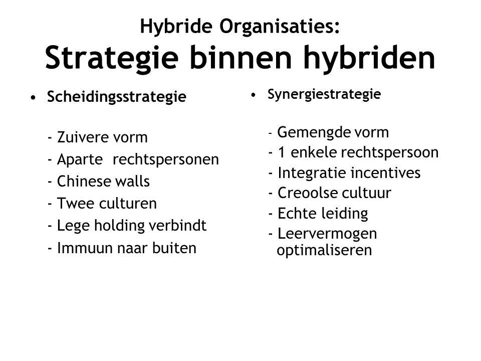 Hybride Organisaties: Strategie binnen hybriden