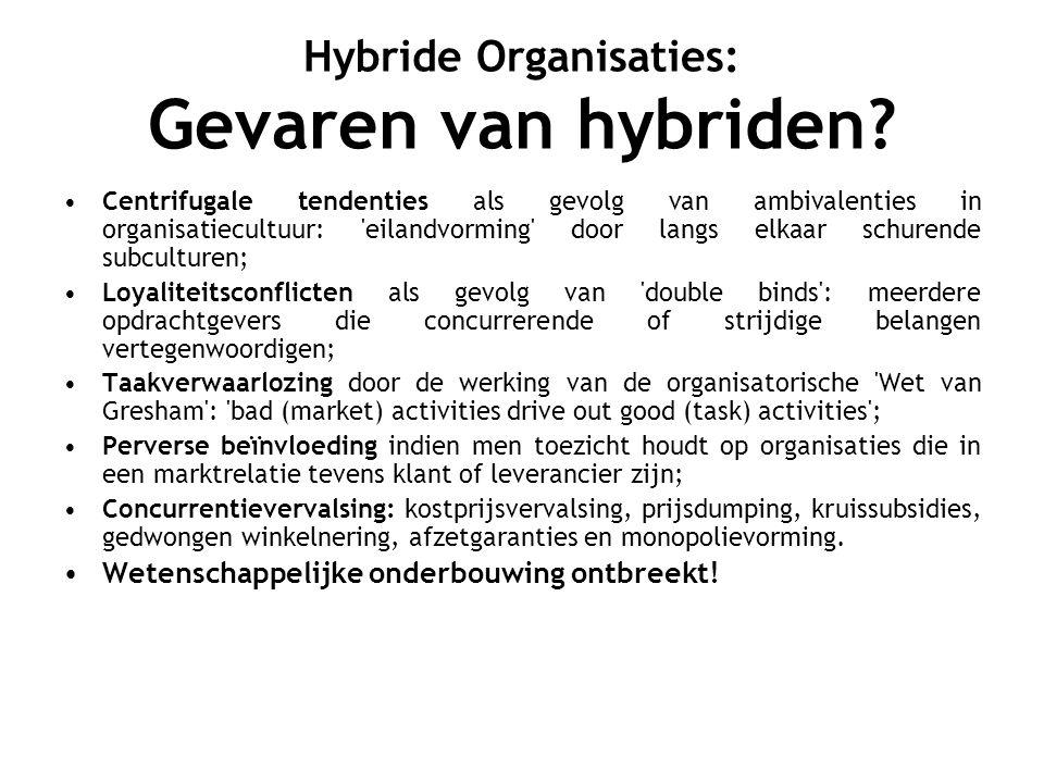 Hybride Organisaties: Gevaren van hybriden