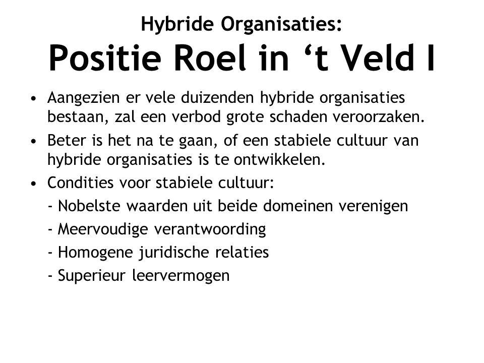 Hybride Organisaties: Positie Roel in 't Veld I