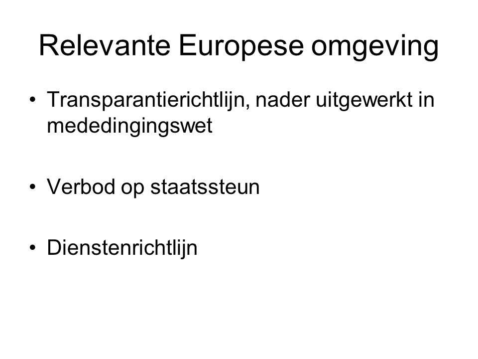 Relevante Europese omgeving