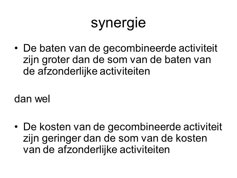 synergie De baten van de gecombineerde activiteit zijn groter dan de som van de baten van de afzonderlijke activiteiten.