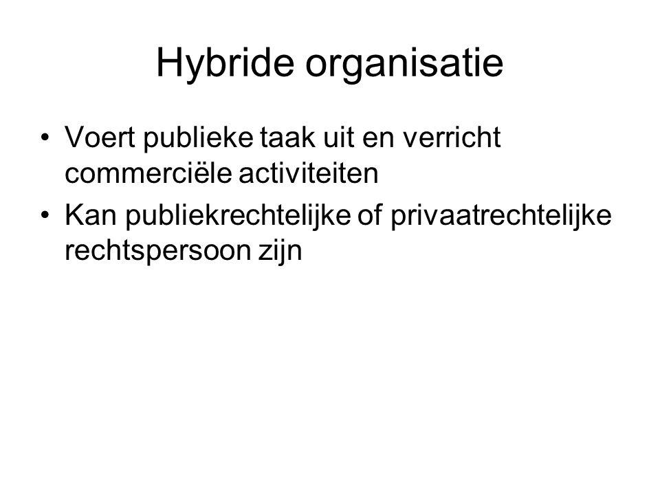 Hybride organisatie Voert publieke taak uit en verricht commerciële activiteiten.