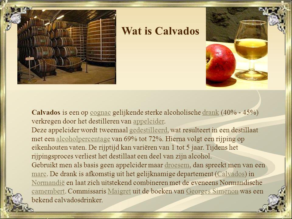 Wat is Calvados Calvados is een op cognac gelijkende sterke alcoholische drank (40% - 45%) verkregen door het destilleren van appelcider.