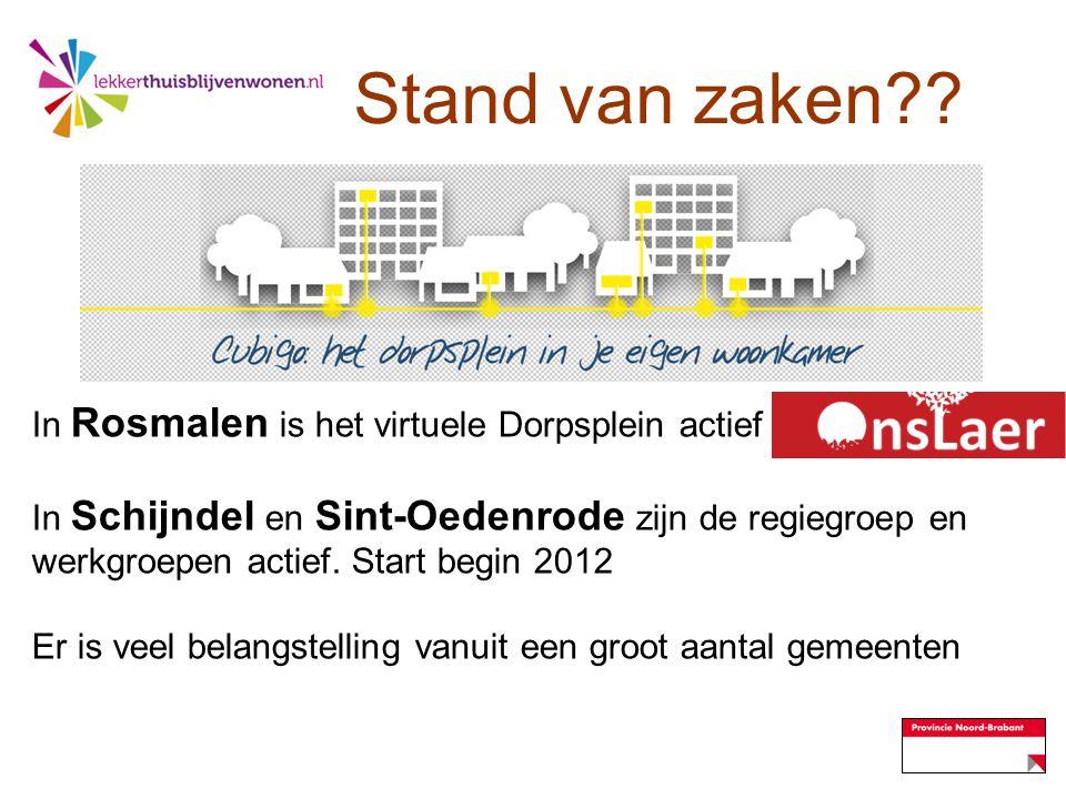 Stand van zaken In Rosmalen is het virtuele Dorpsplein actief