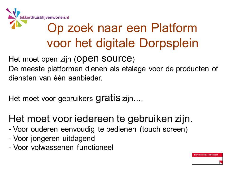 Op zoek naar een Platform voor het digitale Dorpsplein