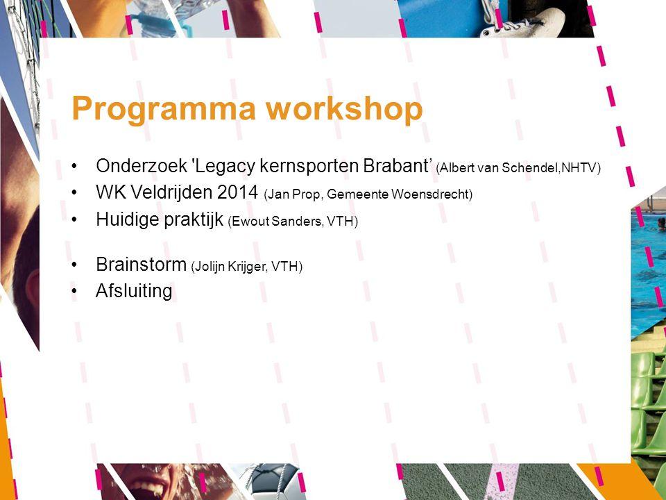 Programma workshop Onderzoek Legacy kernsporten Brabant' (Albert van Schendel,NHTV) WK Veldrijden 2014 (Jan Prop, Gemeente Woensdrecht)
