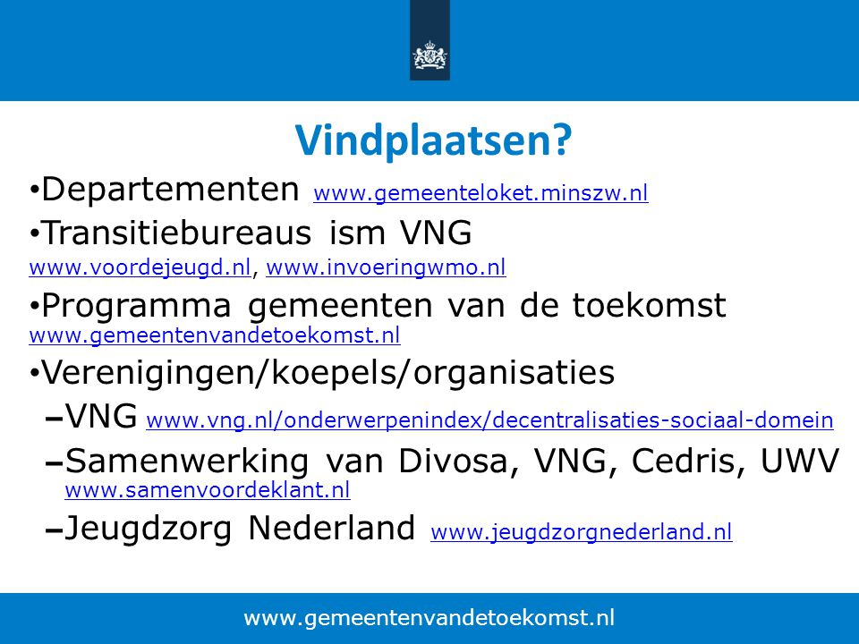 Vindplaatsen Departementen www.gemeenteloket.minszw.nl