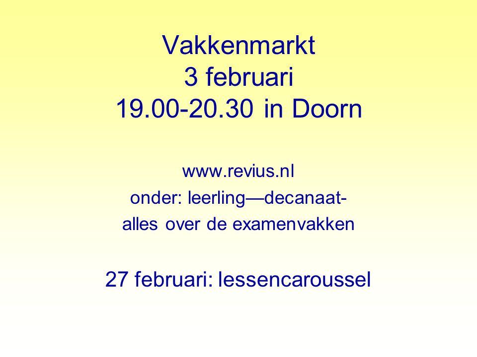 Vakkenmarkt 3 februari 19.00-20.30 in Doorn