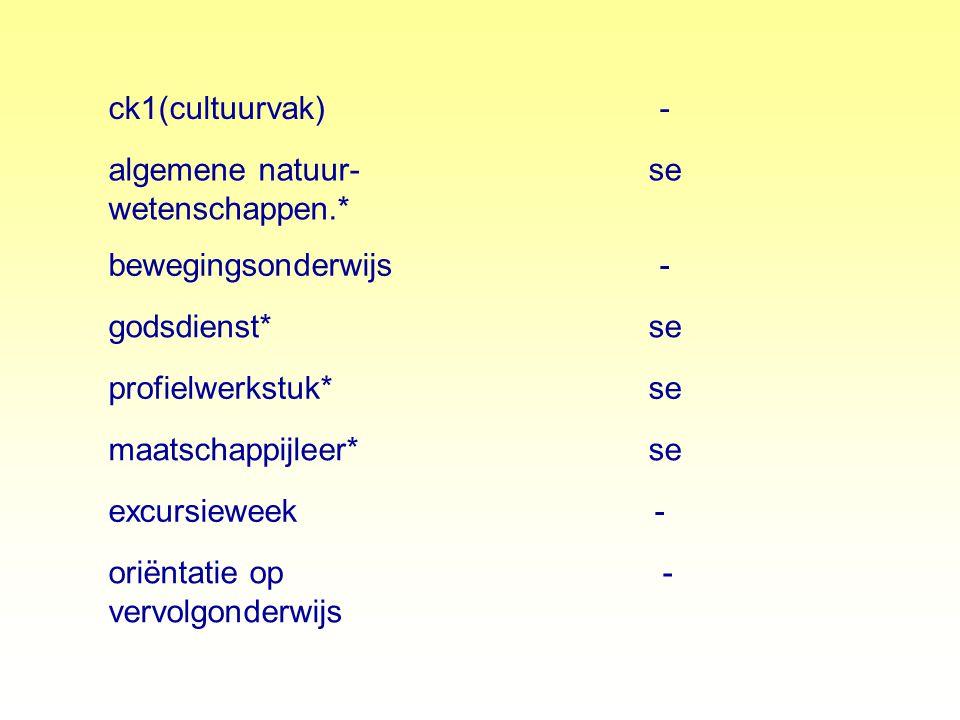 ck1(cultuurvak) - algemene natuur- wetenschappen.* se. bewegingsonderwijs. godsdienst* profielwerkstuk*