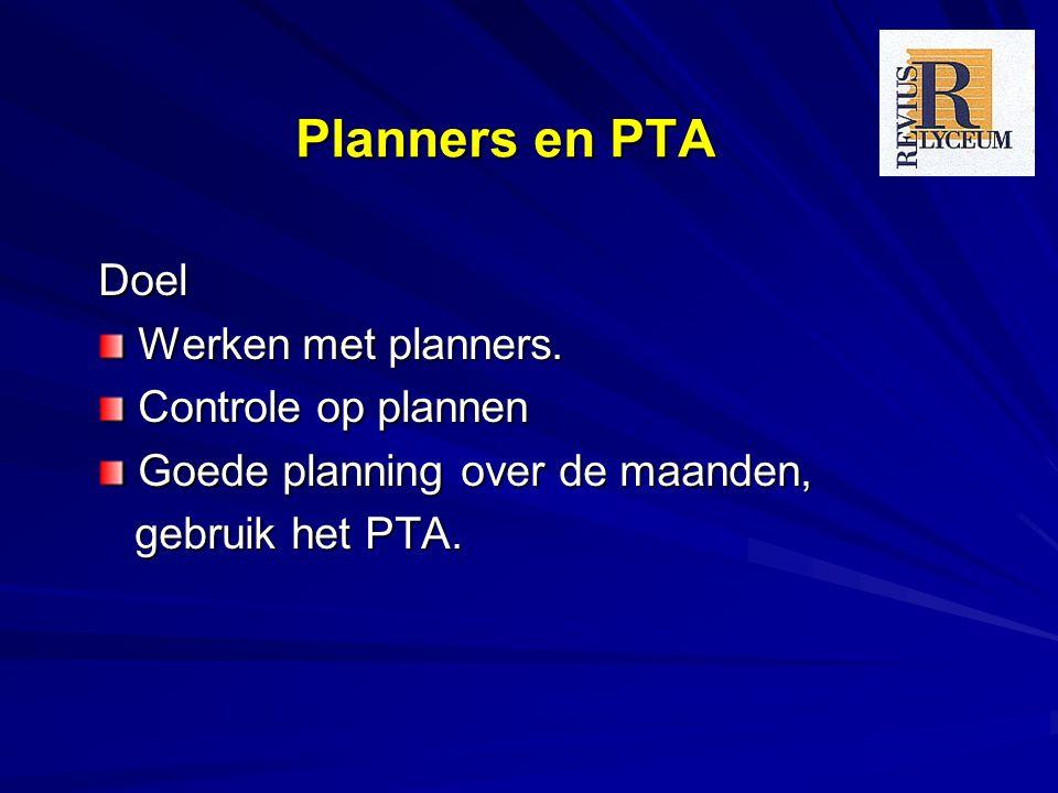 Planners en PTA Doel Werken met planners. Controle op plannen