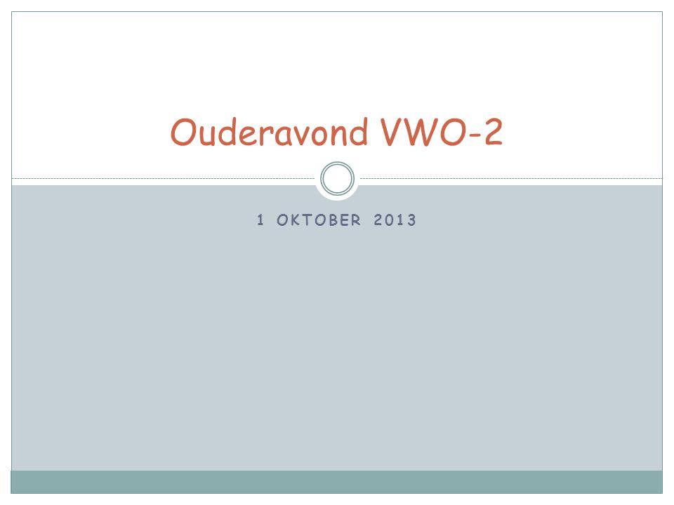 Ouderavond VWO-2 1 oktober 2013