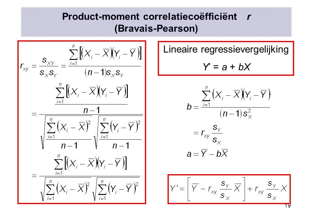 Product-moment correlatiecoëfficiënt r (Bravais-Pearson)