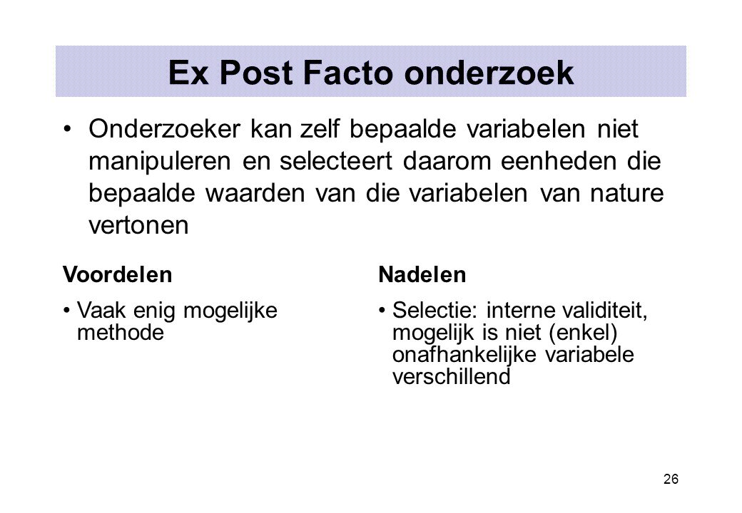 Ex Post Facto onderzoek