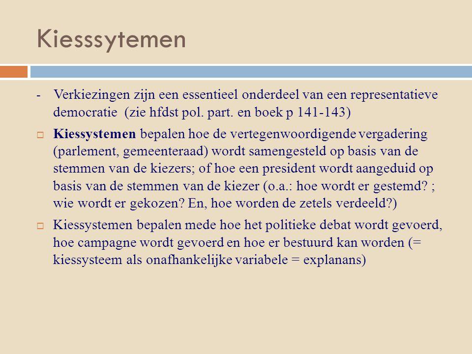 Kiesssytemen - Verkiezingen zijn een essentieel onderdeel van een representatieve democratie (zie hfdst pol. part. en boek p 141-143)