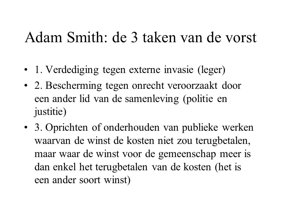 Adam Smith: de 3 taken van de vorst