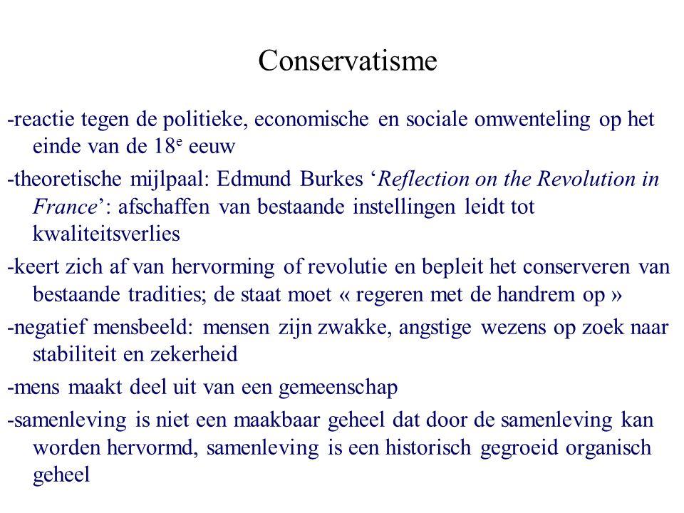 Conservatisme -reactie tegen de politieke, economische en sociale omwenteling op het einde van de 18e eeuw.