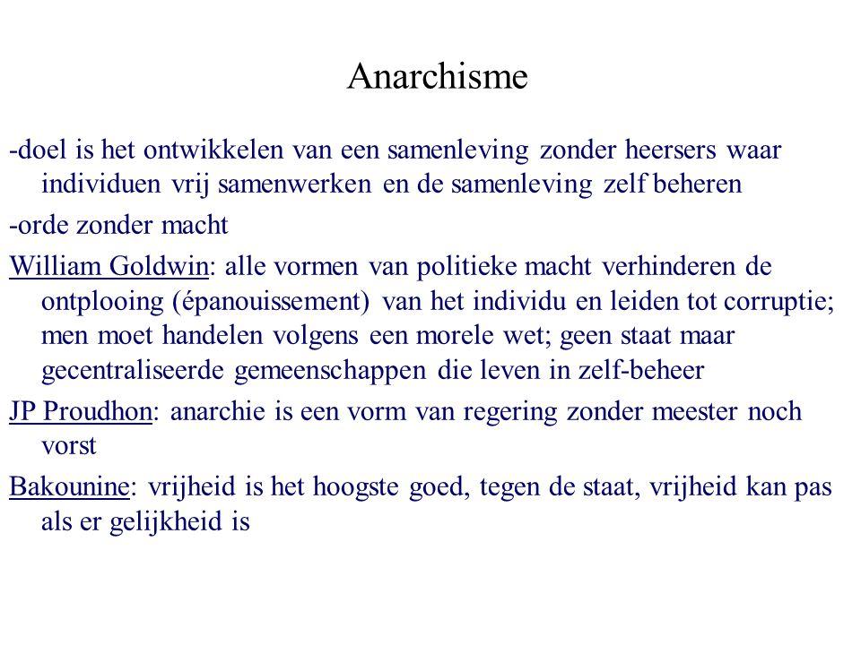 Anarchisme -doel is het ontwikkelen van een samenleving zonder heersers waar individuen vrij samenwerken en de samenleving zelf beheren.