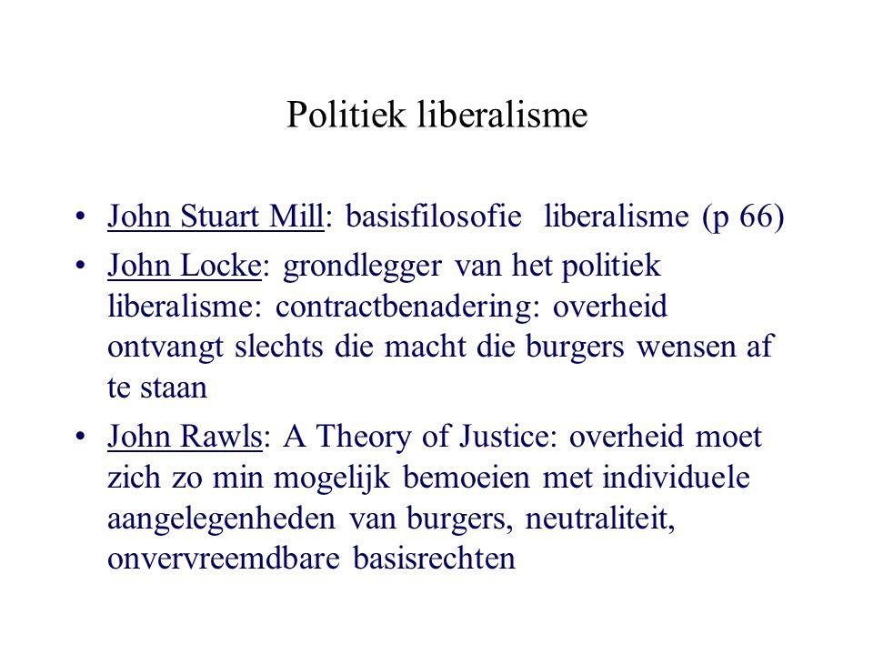 Politiek liberalisme John Stuart Mill: basisfilosofie liberalisme (p 66)