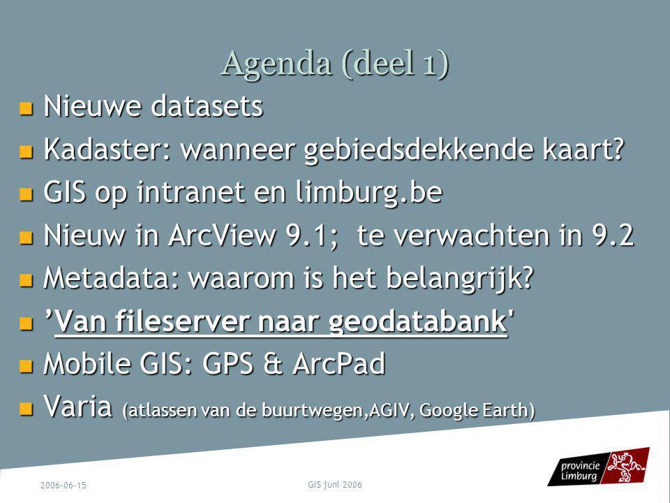 Agenda (deel 1) Nieuwe datasets