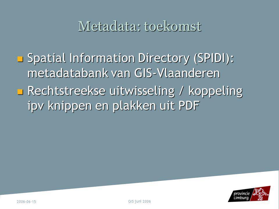 Metadata: toekomst Spatial Information Directory (SPIDI): metadatabank van GIS-Vlaanderen.