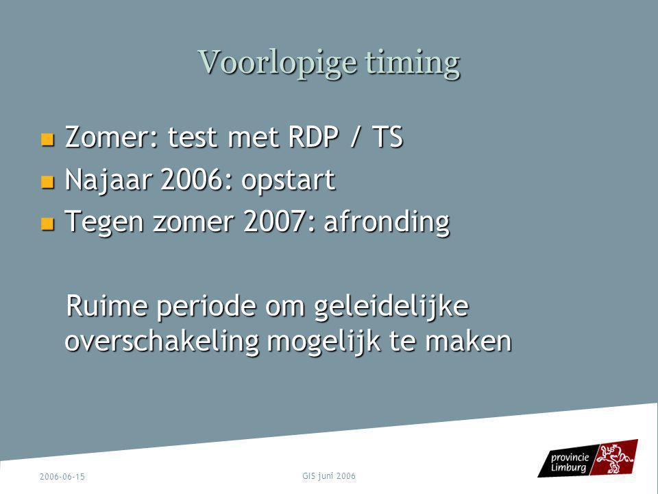 Voorlopige timing Zomer: test met RDP / TS Najaar 2006: opstart