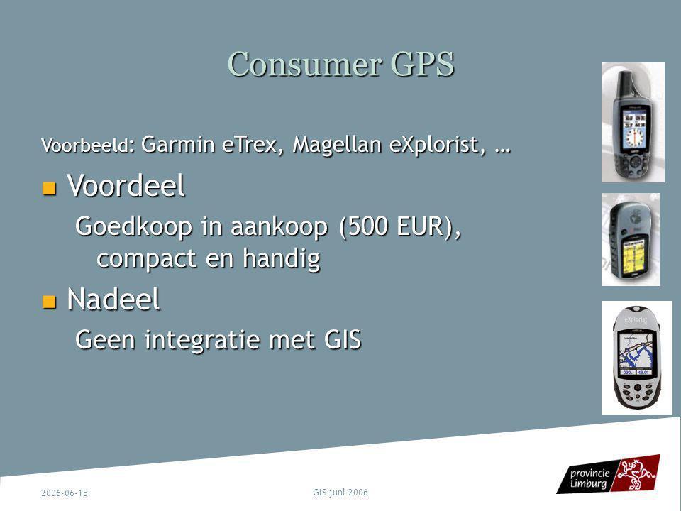 Consumer GPS Voordeel Nadeel