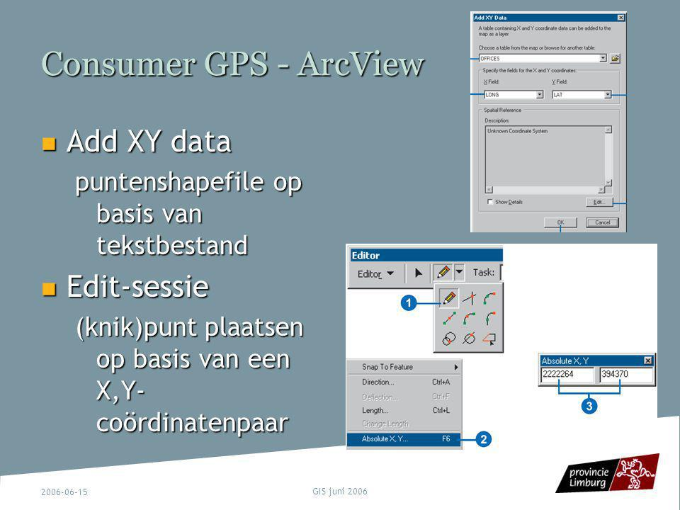 Consumer GPS - ArcView Add XY data Edit-sessie