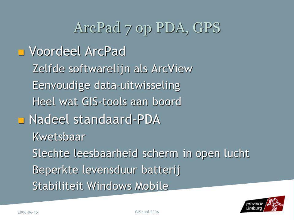 ArcPad 7 op PDA, GPS Voordeel ArcPad Nadeel standaard-PDA