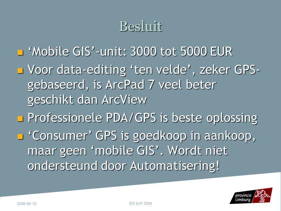 Besluit 'Mobile GIS'-unit: 3000 tot 5000 EUR