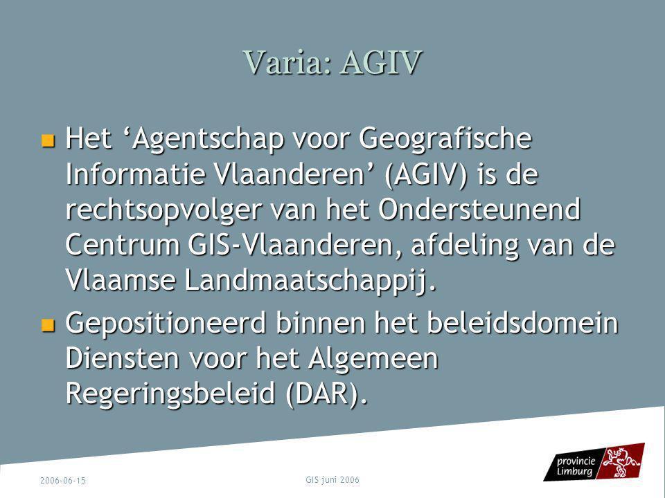 Varia: AGIV