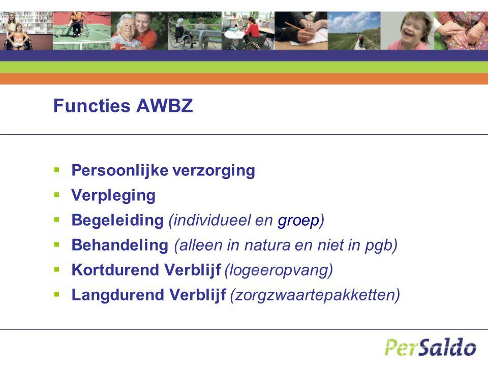 Functies AWBZ Persoonlijke verzorging Verpleging