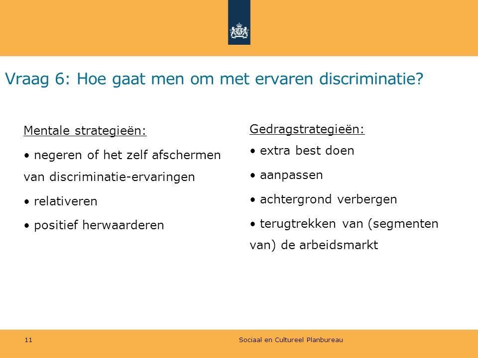 Vraag 6: Hoe gaat men om met ervaren discriminatie