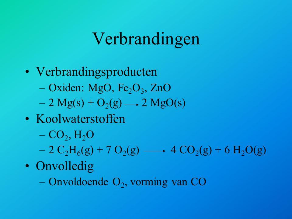 Verbrandingen Verbrandingsproducten Koolwaterstoffen Onvolledig
