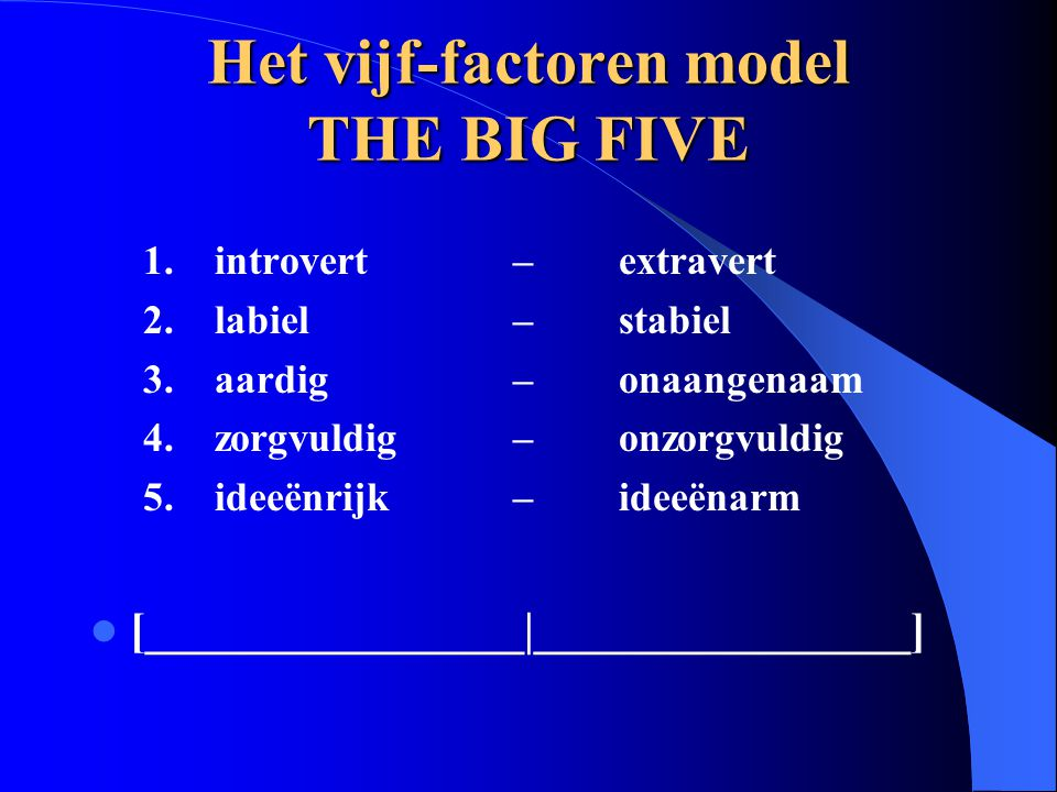 Het vijf-factoren model THE BIG FIVE