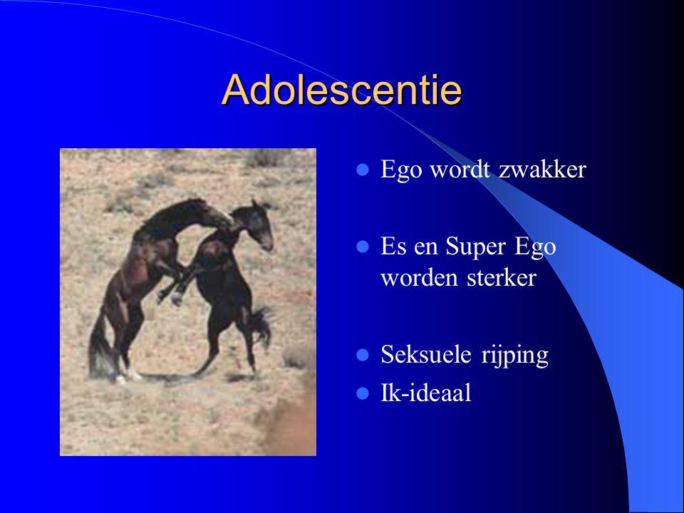 Adolescentie Ego wordt zwakker Es en Super Ego worden sterker