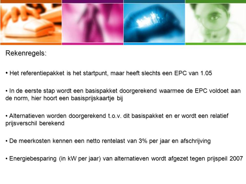 Rekenregels: Het referentiepakket is het startpunt, maar heeft slechts een EPC van 1.05.