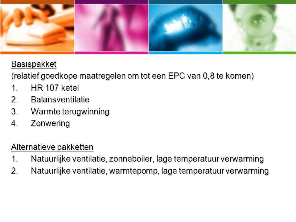 Basispakket (relatief goedkope maatregelen om tot een EPC van 0,8 te komen) HR 107 ketel. Balansventilatie.
