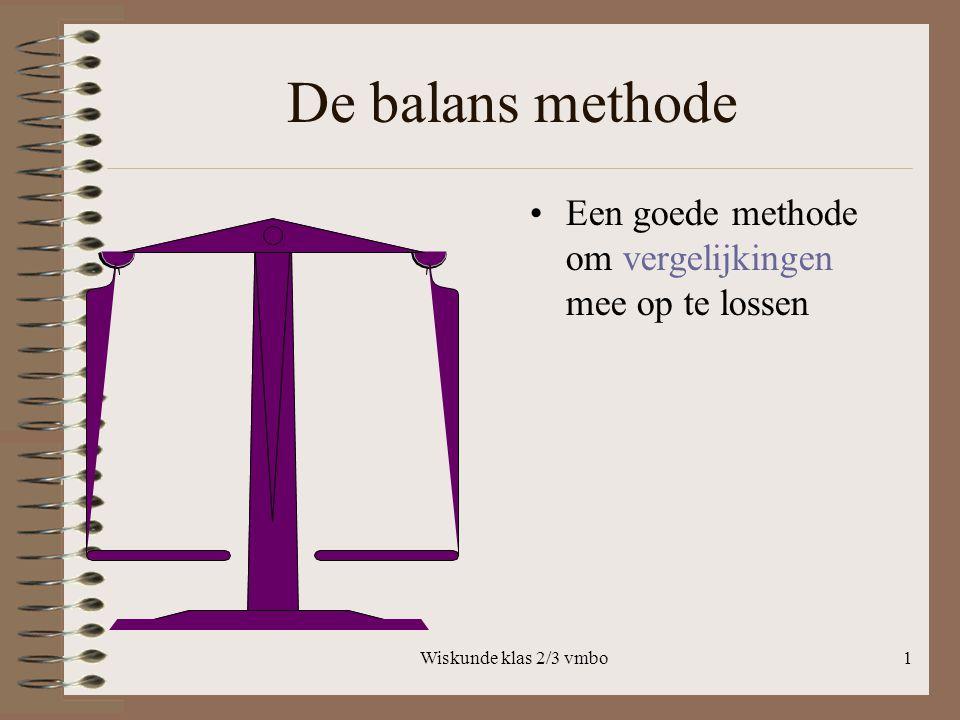 De balans methode Een goede methode om vergelijkingen mee op te lossen