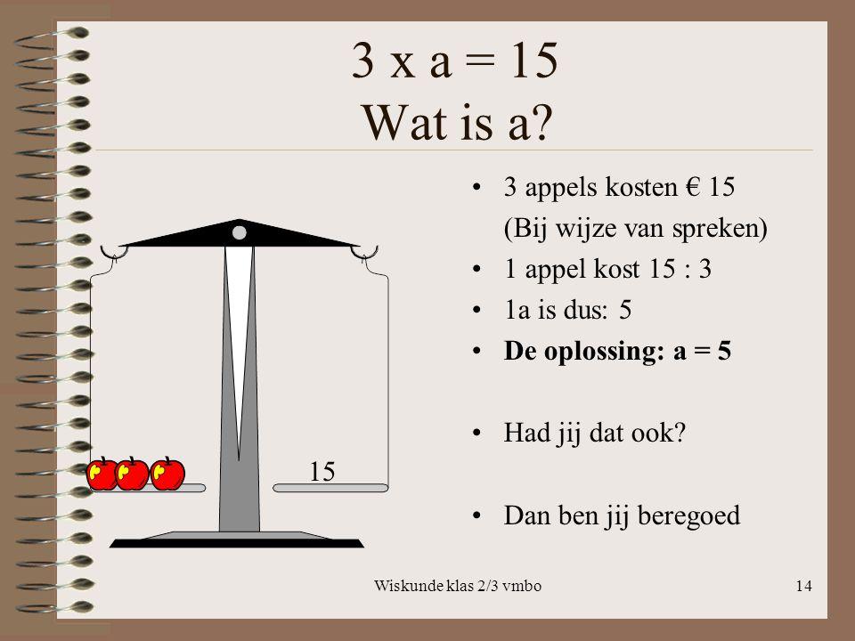 3 x a = 15 Wat is a 3 appels kosten € 15 (Bij wijze van spreken)