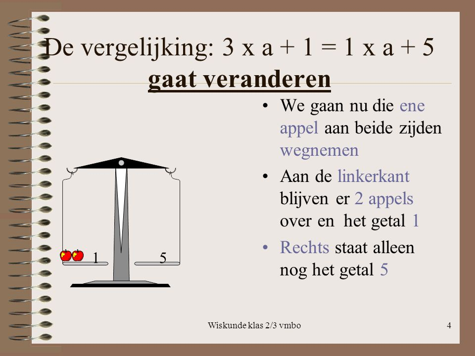 De vergelijking: 3 x a + 1 = 1 x a + 5 gaat veranderen