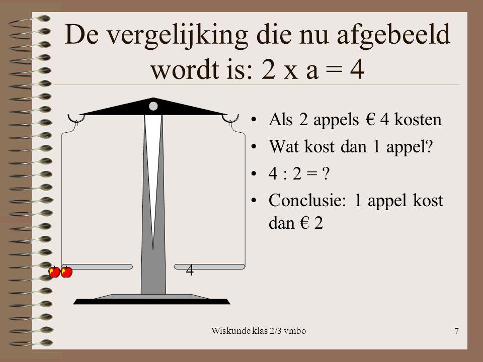 De vergelijking die nu afgebeeld wordt is: 2 x a = 4