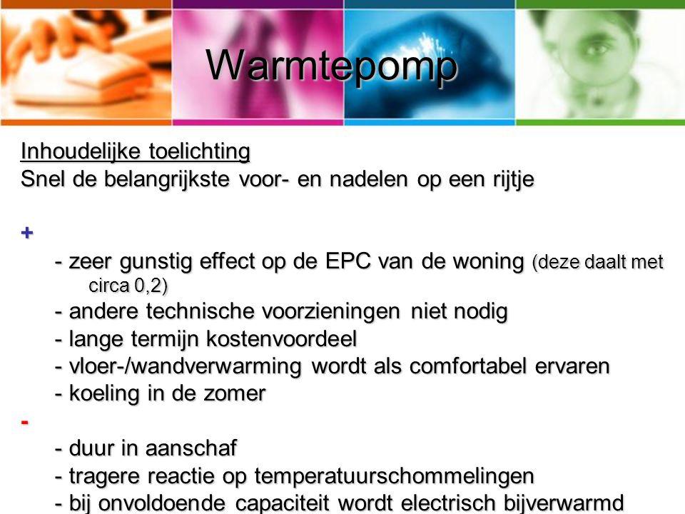 Warmtepomp Inhoudelijke toelichting