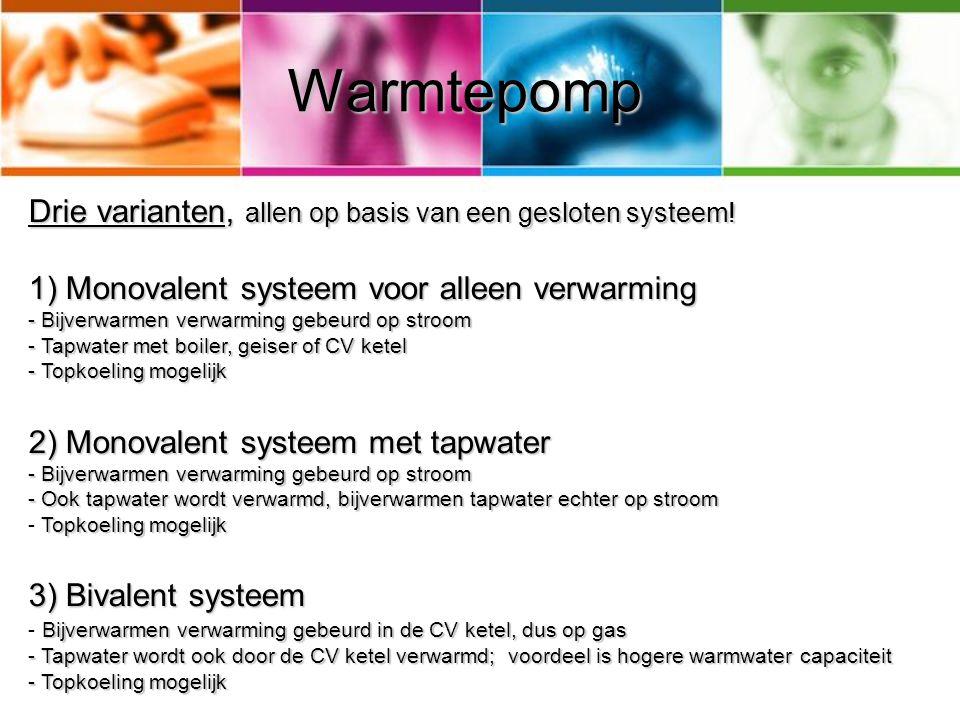 Warmtepomp Drie varianten, allen op basis van een gesloten systeem!
