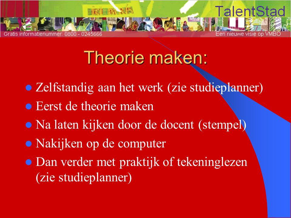 Theorie maken: Zelfstandig aan het werk (zie studieplanner)